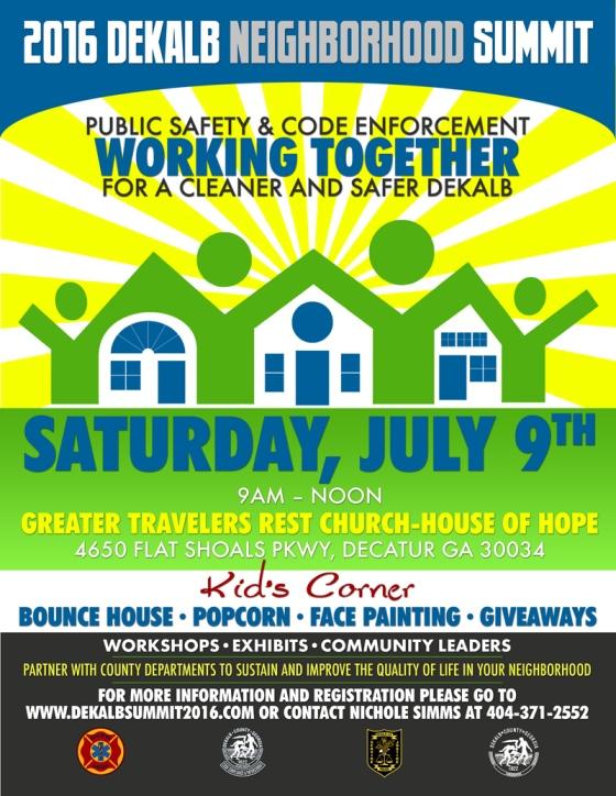 Lee May DeKalb Neighborhood Summit Flyer 6-15-16 BLAST